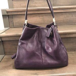 Coach Purple Phoebe Madison Purse Pebbled Leather